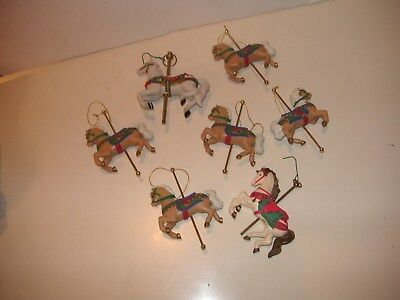 Lot of 7  vintage carousel horse ornaments 5 are Avon