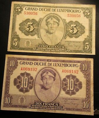 Luxembourg 5 Francs   AND Luxembourt 10 Francs   Circulated Notes