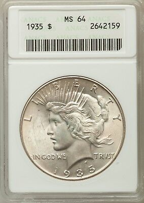 1935-P $1 Peace Silver Dollar ANACS MS64 #2642159 ORIGINAL SURFACES EYE APPEAL!!
