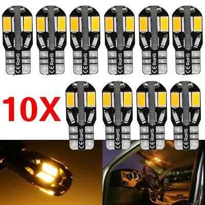10PCS Warm White Canbus T10 194 168 W5W 5730 SMD 8 LED Car Side Wedge Light Bulb