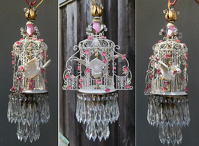 WEDDING decor Porcelain Brass Tole Pink Roses Bird Cage GAZEBO lamp chandelier