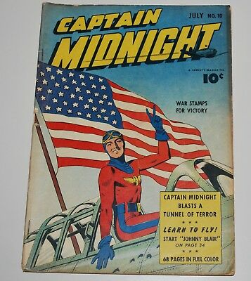 Captain Midnight 10 Fawcett Comic Book 1943 VG+