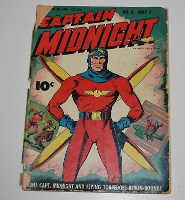 Captain Midnight 8 Fawcett Comic Book 1943 Good+