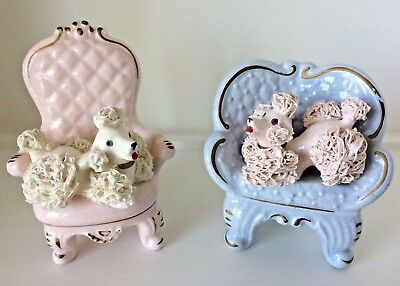 Vintage Ceramic French Poodle Dogs Pink & Blue Boudoir Chair Shafford Japan