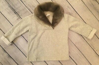 Crewcuts Girls Sweatshirt Top, Size 4-5T, Gray with Fur Collar, EUC!!!