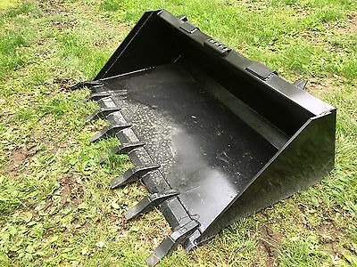 """New Heavy Duty 66"""" Skid Steer Bucket with teeth for Bobcat, Case,CAT & more-5.5'"""