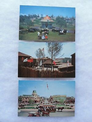 3 1956 Disneyland Postcards: Bandstand, Davy Crockett Museum and Town Square