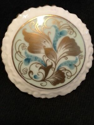 Vintage Brooch Signed Coalport England Painted China 2 1/8""