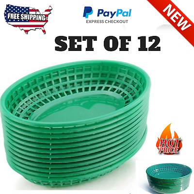 Fast Food Tray Baskets,Oval Set of 12 Durable