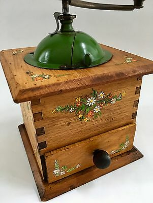A+ PRISTINE Antique/Vintage Handpainted French European Wood Coffee Mill/Grinder