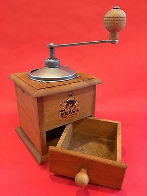 Vintage European Ahner Vienna Austria BRASIL Wood Coffee Mill/Grinder Black Face
