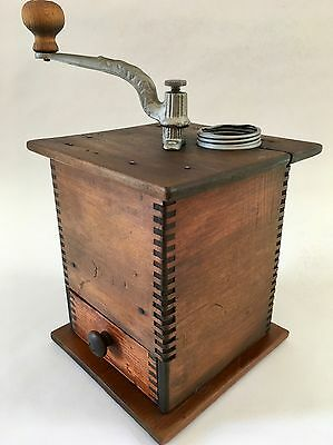 1800's PRISTINE Antique/Vintage American C.PARKER Wood+Metal Coffee Mill/Grinder