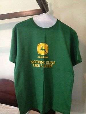 New John Deere Tshirt - Green & Yellow - Nothing Runs Like a Deere - Large L