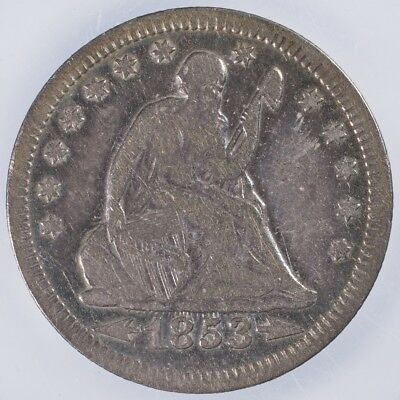 1853 Seated Liberty Quarter Fine Arrows and Rays, cleaned