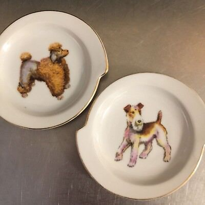 Vintage Dog Coasters Terrier Poodle Set 2 Made Japan Mid Century China Gold Trim