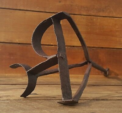 Antique Cast Iron Blacksmith Forged Branding Iron P Western Cattle Ranch Tool