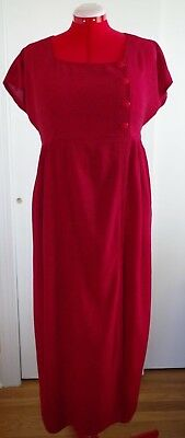 custom tailored maternity red dress size L mid calf length with capped sleeves