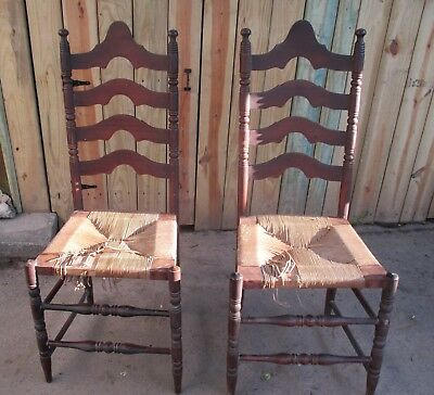 Two Vintage Ladder Back Slat Chairs with Rush Seats