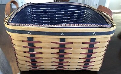 Longaberger Proudly American Small Wash Day Basket with protector & Liner