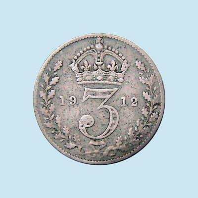 1912 3d Great Britain Three Pence .925 Sterling Silver George V KM# 813 VF+! $NR