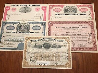 Lot of 5 Different Vintage Railroad Stock Certificates