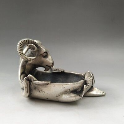 Chinese Tibetan silver pure hand-carved cow sculpture brush wash