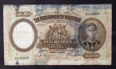 Mauritius, Government of Mauritius, 10 Rupees, ND (1937), P-23a, *RARE*
