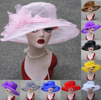 Occasional Kentucky Derby Wide Brim Womens Organza Sun Hats Church Wedding A002
