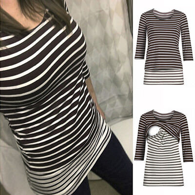 Women Striped  Pregnant Long Tops Maternity Clothes Nursing Breastfeeding Blouse