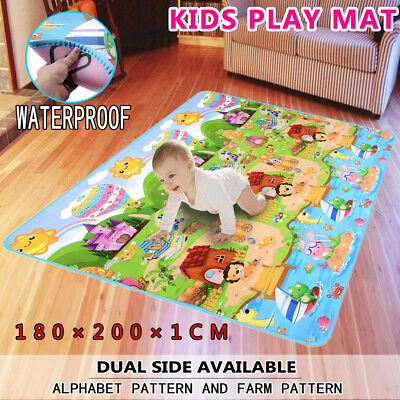 1cm Thick Large Baby Kids Toddler Play Mat Floor Rug 2mx1.8m Double Sides