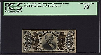 Third 3rd Issue 50 Cents PCGS 58 Fr.1339 Fractional Currency Item #80793452