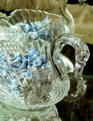Victorian Trading Co Cut Crystal Swan Candy Dish New