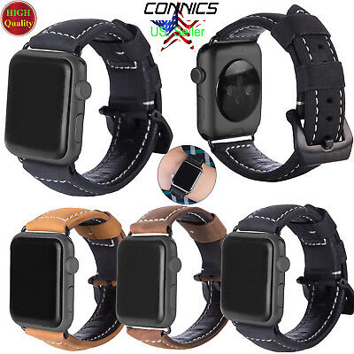 For Apple Watch iWatch 38/42mm Band Genuine Leather Wrist Strap Black buckle