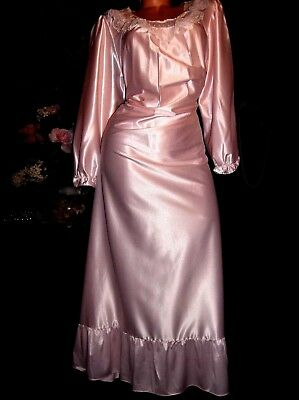 Vtg Satin Glossy Pink Ruffles Lacy Frilly Poets Shabby Chic Nightgown 40/42