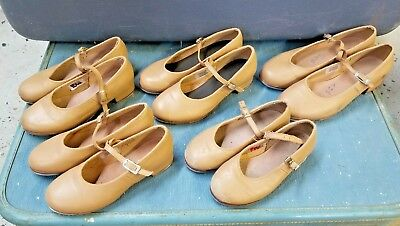 Leather Dance Shoes Mary Jane Tap Tan Lot Sizes 13.5 N, 1, 11, 5.5, 12.5