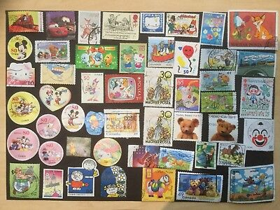 50 Cartoon And Disney Themed World Stamps / No Duplicates /