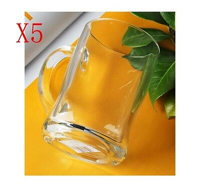 New 5X Capacity 450ML Height 125MM With A Handle Beer Wine Glass/Glassware %