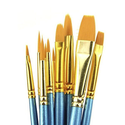 10Pcs/Set Wooden Paint Brushes For Artists Watercolor Acrylic & Oil Painting
