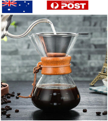 AU! Classic Glass Hand Drip Coffee Maker Chemex Style Pour Over Coffeemaker