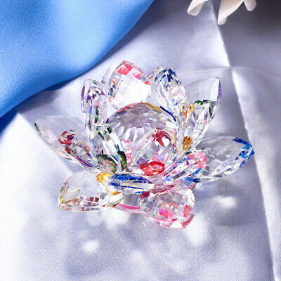 Large Crystal Lotus Flower Ornaments with Gift Box, Feng Shui Decor Colorful