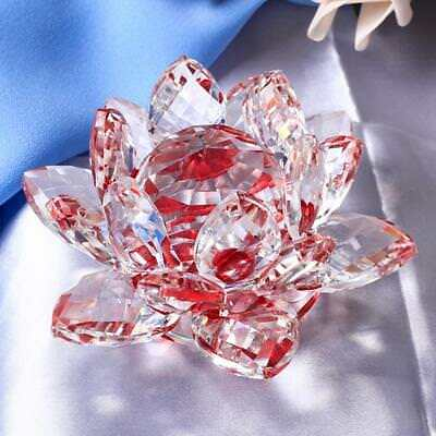 Large Crystal Lotus Flower Ornaments with Gift Box, Feng Shui Decor Red