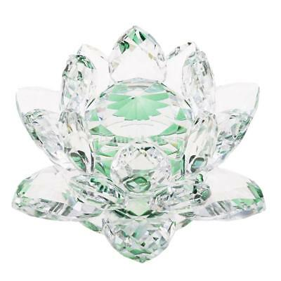 Large Crystal Lotus Flower Ornaments with Gift Box, Feng Shui Decor Green