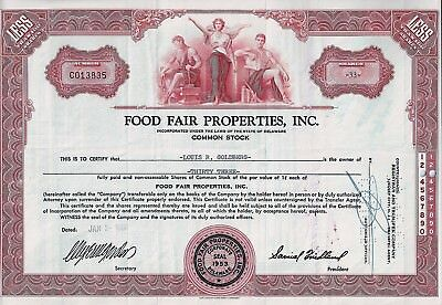Food Fair Properties Inc., Delaware, 1958 (33 Shares)