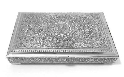 Antique Isfahan Persian Silver Box 395 Grams Lion & Sword 900