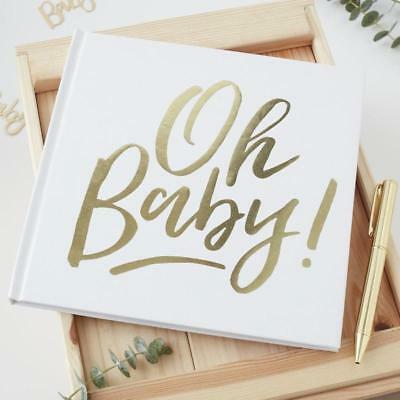 Gold Foiled Oh Baby! Guest book - OH BABY!- Baby Shower