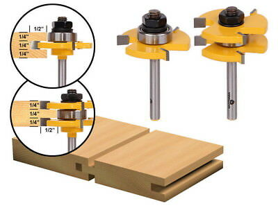 "T-type3-tooth  Mortise Knife 2 Bit Tongue and Groove Router Bit Set - 1/4"" Shank"