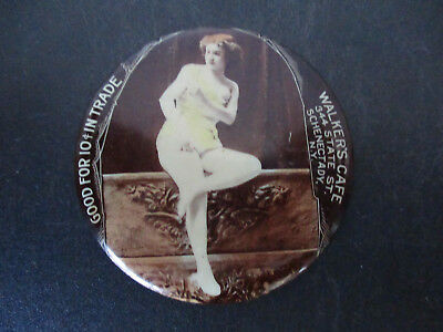 Risque Nude Advertising Souvenir Pocket Mirror Walkers Cafe Schenectady New York