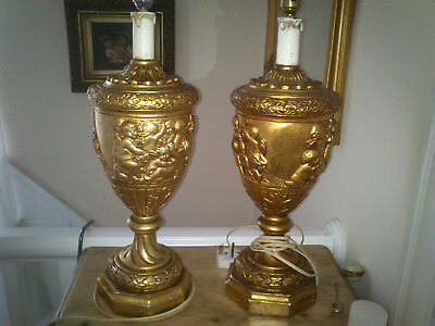 pair of plaster Vintage French Cherub  table lamps