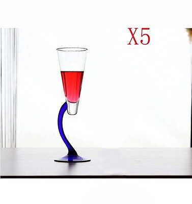 New 5X Capacity 200ML Height 236MM Blue Feet Champagne Wine Glass/Glassware %