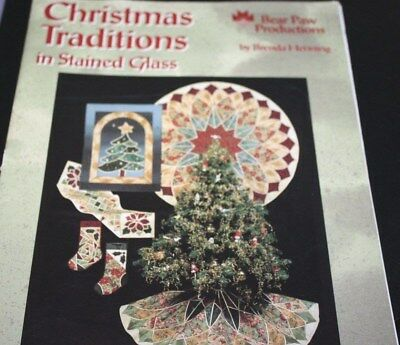 Stained Glass Pattern Book Christmas Traditions Tree Stocking --SSX